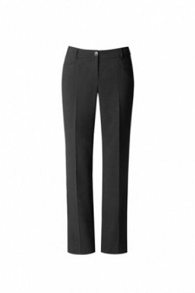 Описание:  Прямые брюки с притачным поясом  со шлевками.  Спереди брюки дополнены боковыми карманами, сзади – прорезными  карманами в рамку с застежкой на пуговицу.  Благодаря классической форме и  безупречному  крою  модель выглядит утонченно и лаконично